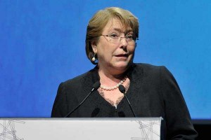 Santiago 28 de agosto 2014 (UPI). La Presidenta de la República, Michelle Bachelet, asiste a la ceremonia de premiación de la décima versión del Ranking Nacional de Responsabilidad Social Empresarial 2014. (UPI/Sebastián Beltrán)
